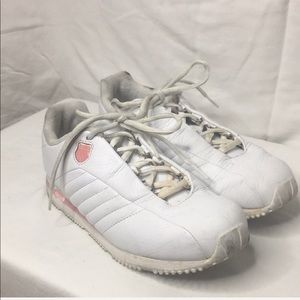 K- Swiss white sneakers with pink trim